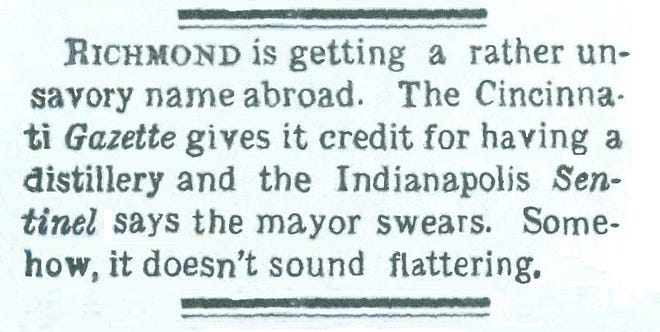 The Nov. 18, 1882, Item reports that Richmond's unsavory reputation, according to the Cincinnati Gazette, is quite obvious.