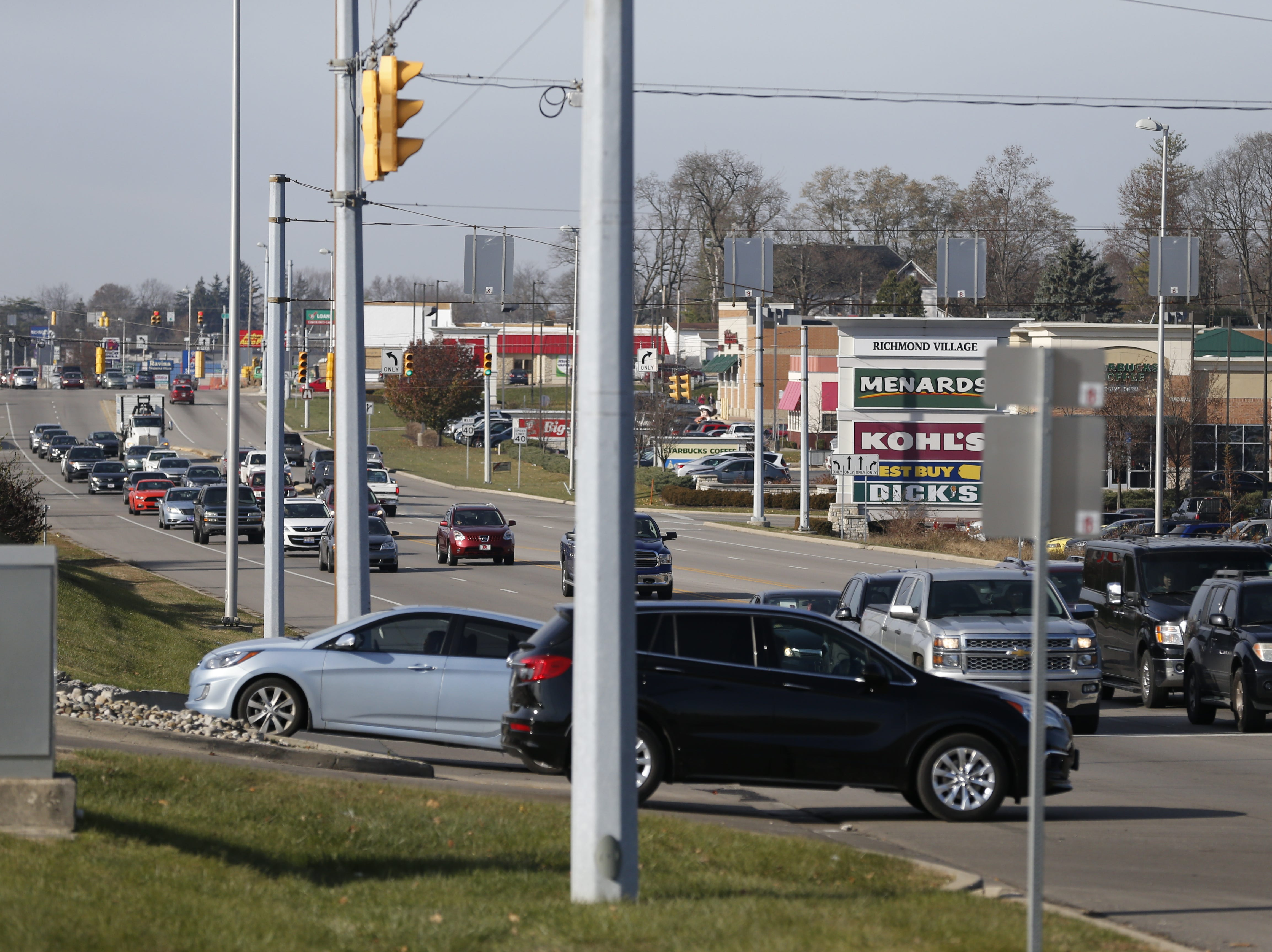 Traffic to Richmond's largest retail area was steady along National Road East on Friday morning, Nov. 23, 2018.