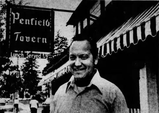 """Sept. 25, 1977: Greg Parker, owner of the Penfield Tavern, which was built in the 1880s. Penfield residents patronize the tavern, Parker says, """"because it represents permanence in a period of change."""""""