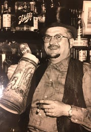 Roy H. Suss, Jr., behind the bar at the Penfield Tavern circa 1960 or so. He sold the tavern to the Parker family in the mid 1960s.