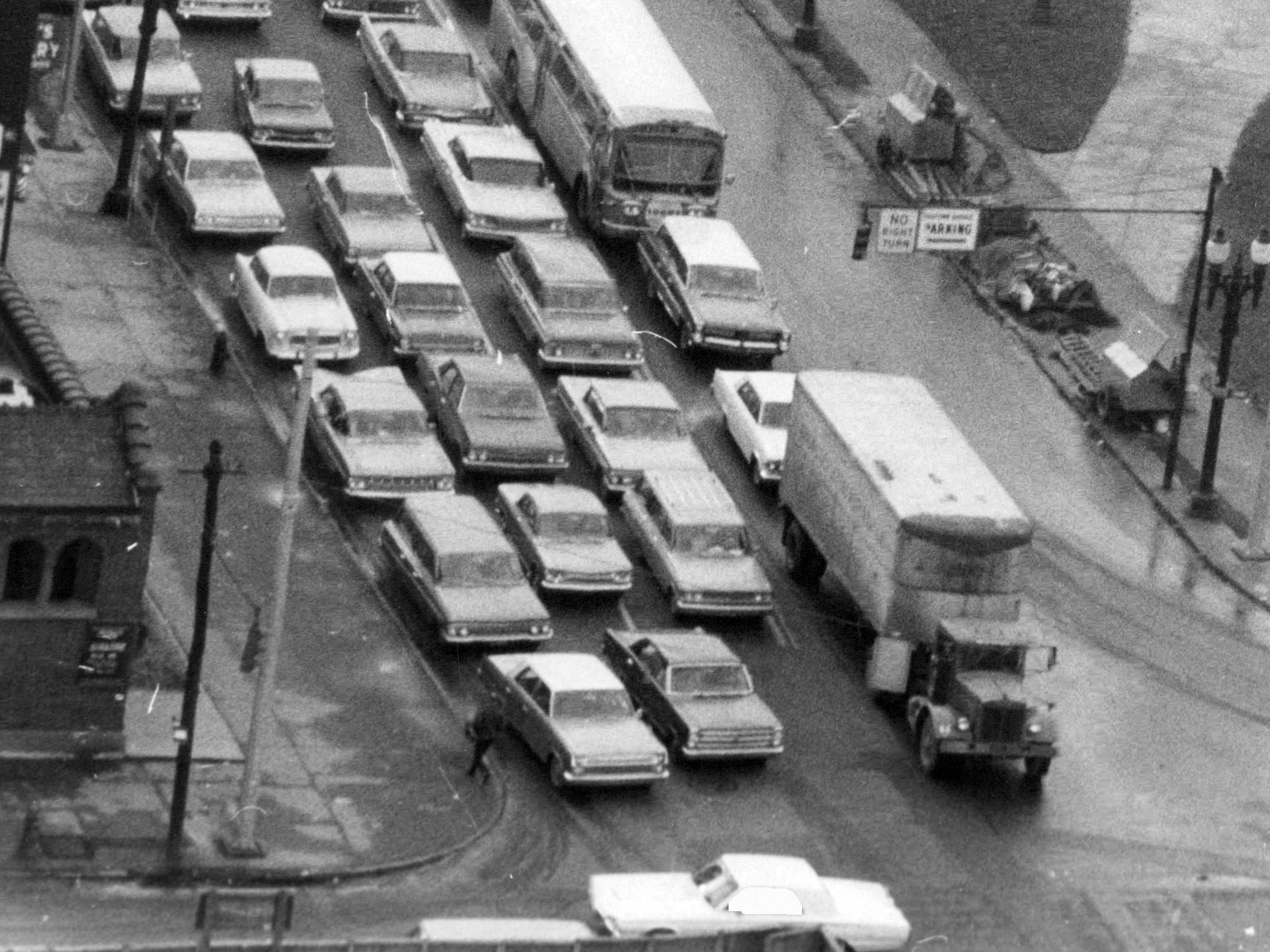 This photo from 1965 shows Black Friday traffic at Clinton Avenue and Court Street in Rochester.