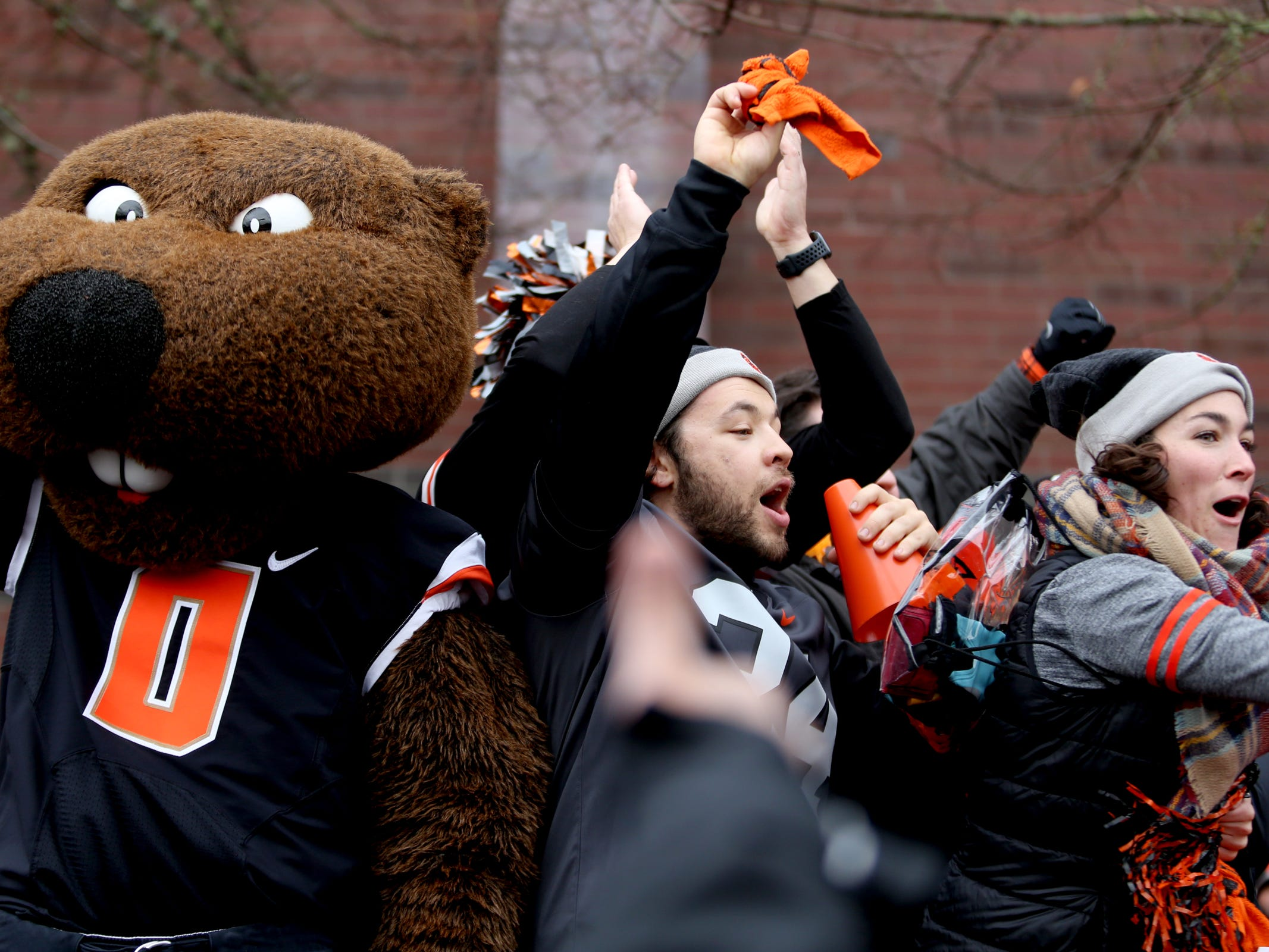 Benny Beaver and Oregon State fans tailgate before the start of the Oregon vs. Oregon State Civil war football game at Oregon State University in Corvallis on Friday, Nov. 23, 2018.