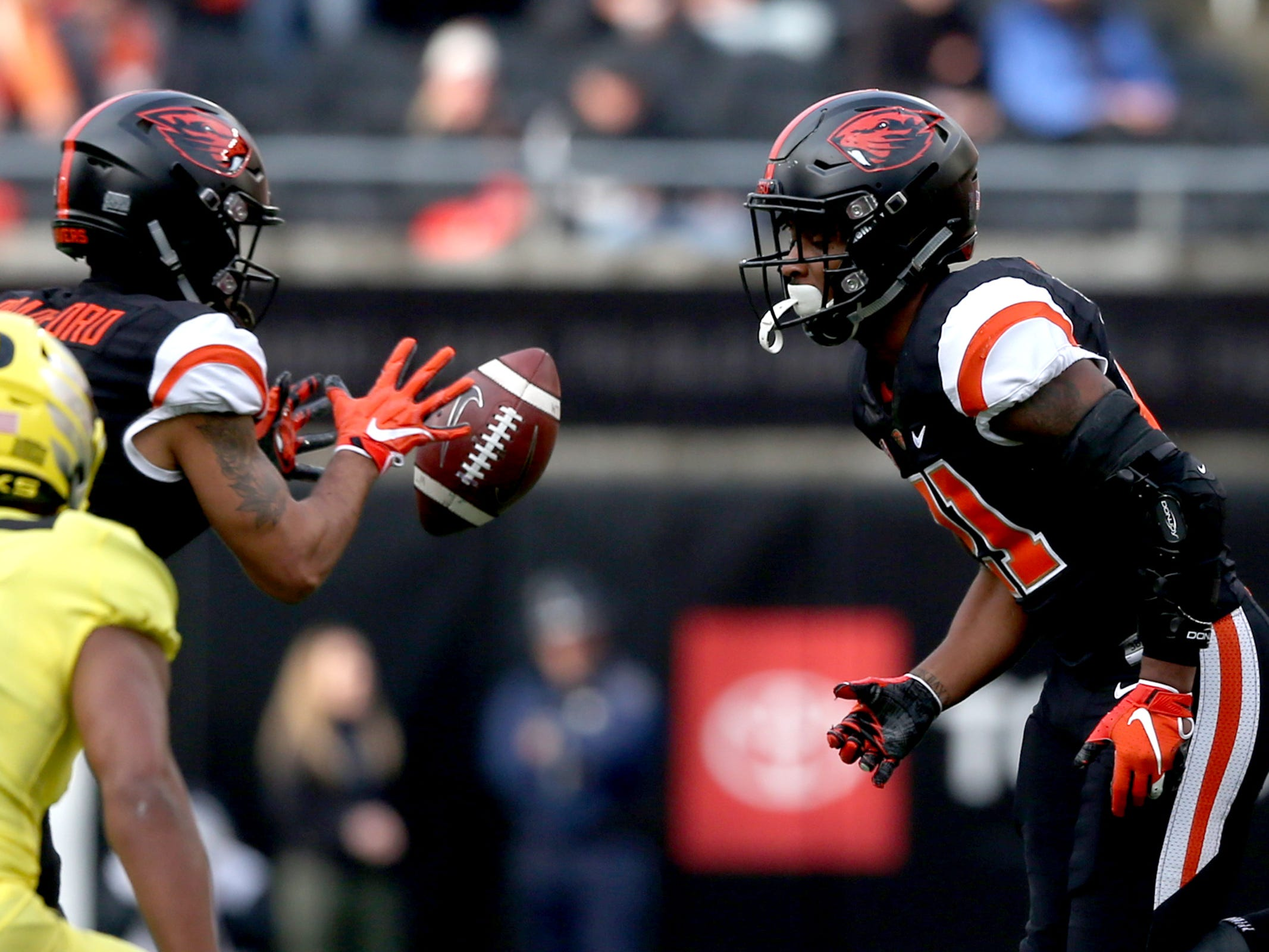 Oregon State's Jaden Robinson (21) passes the ball to teammate Trevon Bradford (8) in the Oregon vs. Oregon State Civil war football game at Oregon State University in Corvallis on Friday, Nov. 23, 2018.
