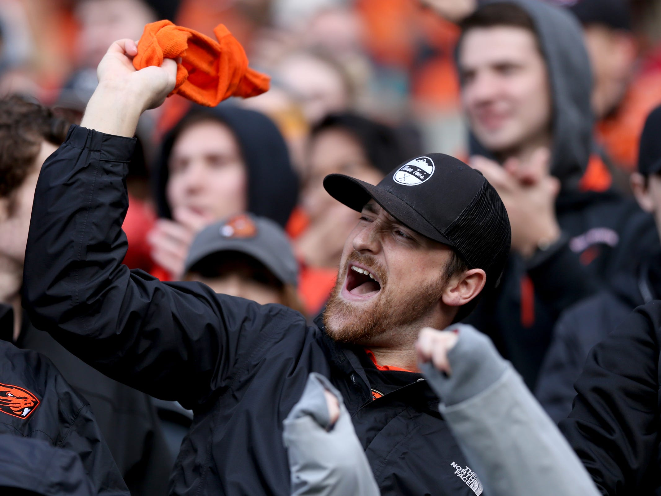 Oregon State fans celebrate a play in the Oregon vs. Oregon State Civil war football game at Oregon State University in Corvallis on Friday, Nov. 23, 2018.