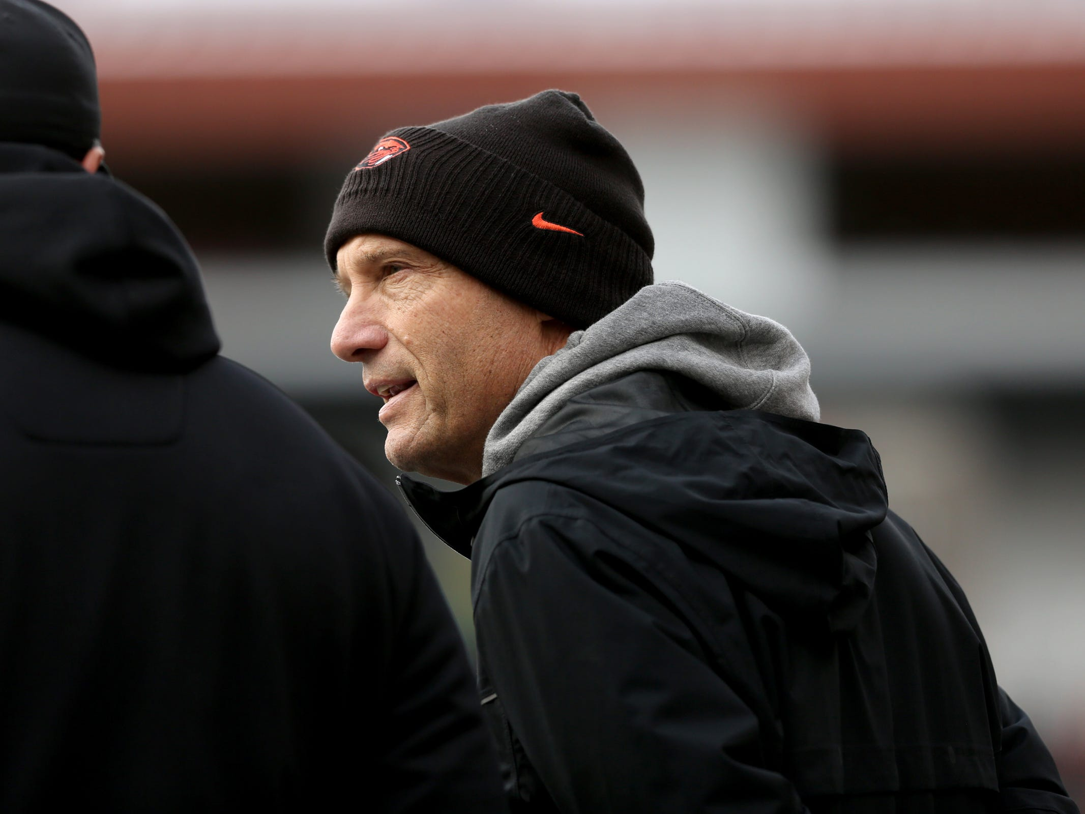 Oregon State analyst Mike Riley watches from the sidelines the Oregon vs. Oregon State Civil war football game at Oregon State University in Corvallis on Friday, Nov. 23, 2018.