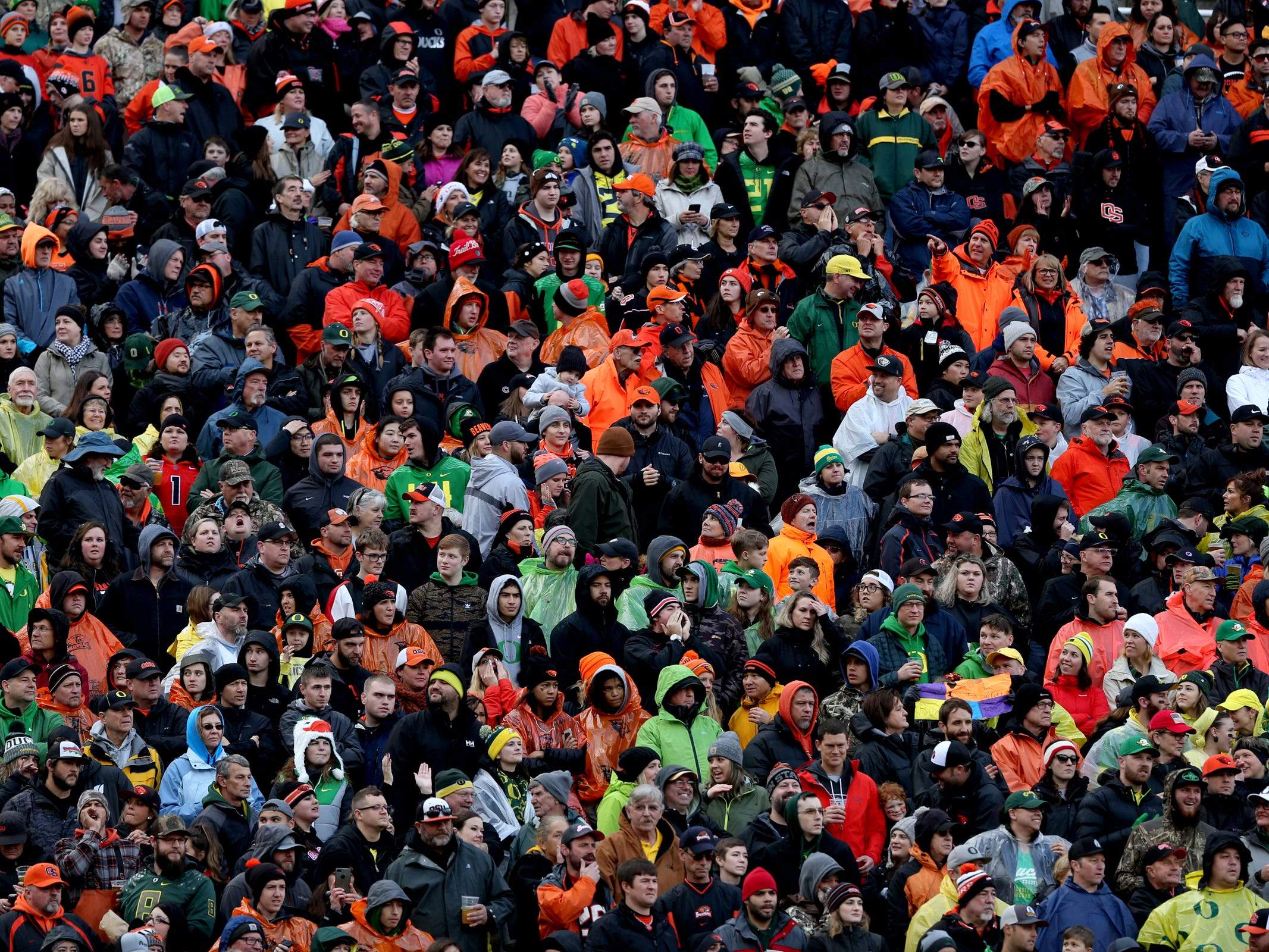 The crowd at the Oregon vs. Oregon State Civil war football game at Oregon State University in Corvallis on Friday, Nov. 23, 2018.
