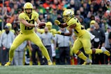 Oregon beat Oregon State 55-15 in the annual Civil War on Friday. Wochit video
