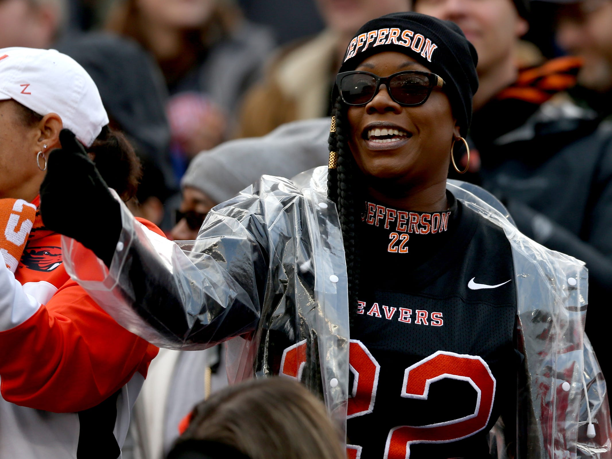 Tracy Green, the mother of Oregon State's Jermar Jefferson, cheers in the Oregon vs. Oregon State Civil war football game at Oregon State University in Corvallis on Friday, Nov. 23, 2018.