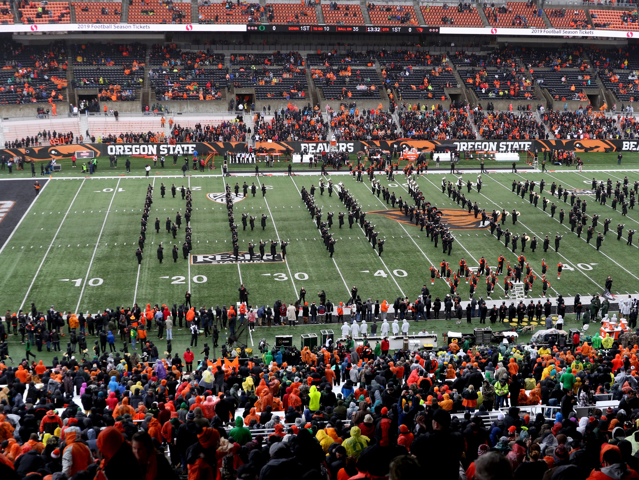 The Oregon State marching band performs before the start of the Oregon vs. Oregon State Civil war football game at Oregon State University in Corvallis on Friday, Nov. 23, 2018.