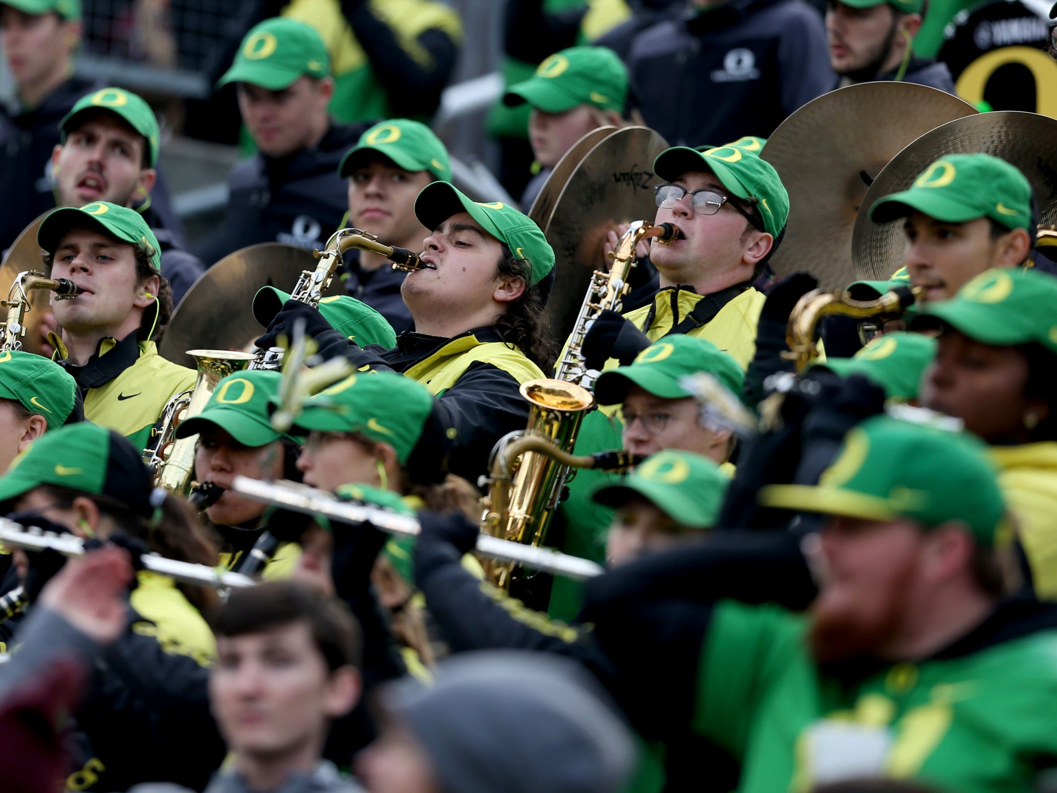 The Oregon band performs in the Oregon vs. Oregon State Civil war football game at Oregon State University in Corvallis on Friday, Nov. 23, 2018.