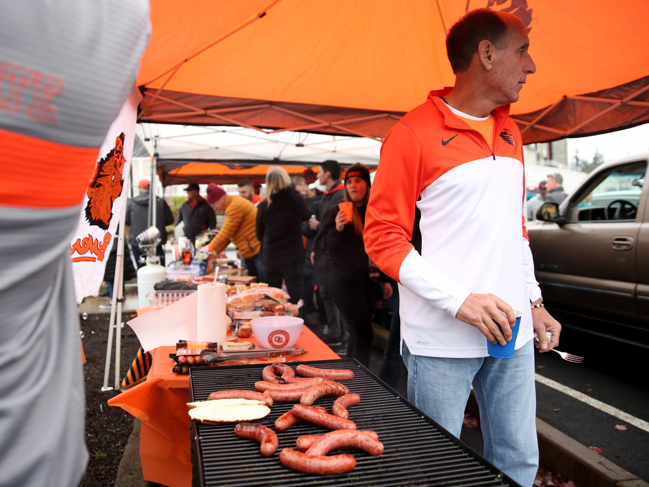 Oregon State fans tailgate before the start of the Oregon vs. Oregon State Civil war football game at Oregon State University in Corvallis on Friday, Nov. 23, 2018.