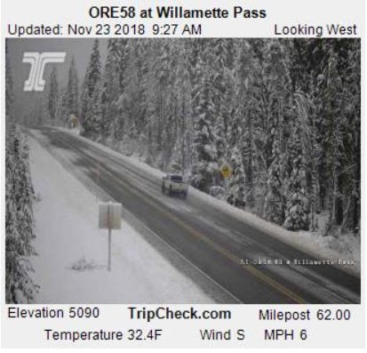 Snow could cover Willamette Pass over the weekend.
