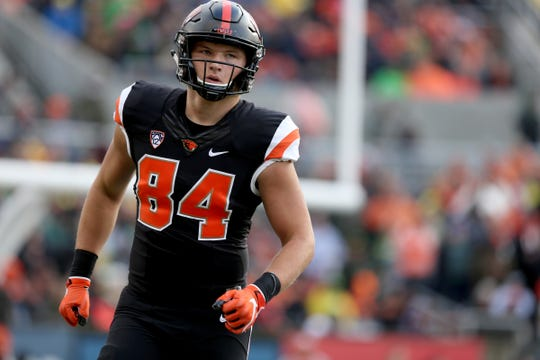 Oregon State's Teagan Quitoriano (84) competes in the Oregon vs. Oregon State Civil war football game at Oregon State University in Corvallis on Friday, Nov. 23, 2018.