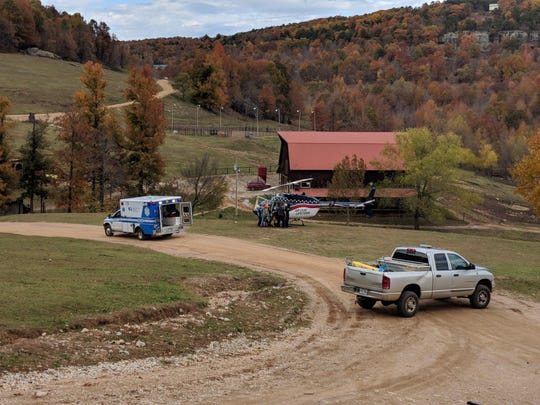 A LifeFlight helicopter prepares to fly Coleman Severson, 17, from Horseshoe Canyon Ranch Nov. 6 after the youngster fell 30 feet while climbing rocks.