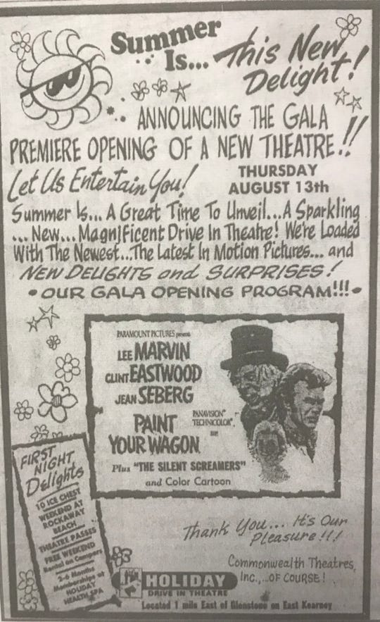 """The Holiday Drive-In movie theater on East Kearney opened on Thursday, Aug. 13, 1970, with a screening of """"Paint Your Wagon.""""  The drive-in closed in 1981 and was refurbished and re-opened in 1994.  It closed again in about 1997 and the property has been vacant since."""