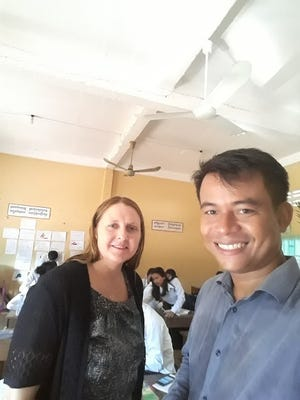 Amy Bohman (left), who has taught English as a second language and social studies at Ben Franklin Junior High School since 2013, is in the midst of a 10-month fellowship project teaching in Cambodia. She works at the Kandal Regional Teacher Training Center, and is seen her with a colleague.