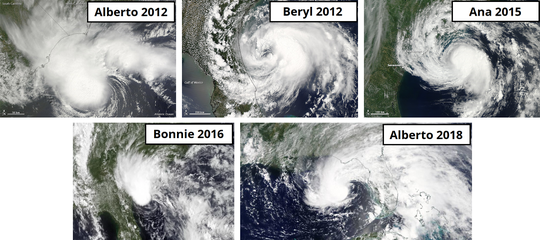Storms from 2012 through 2018