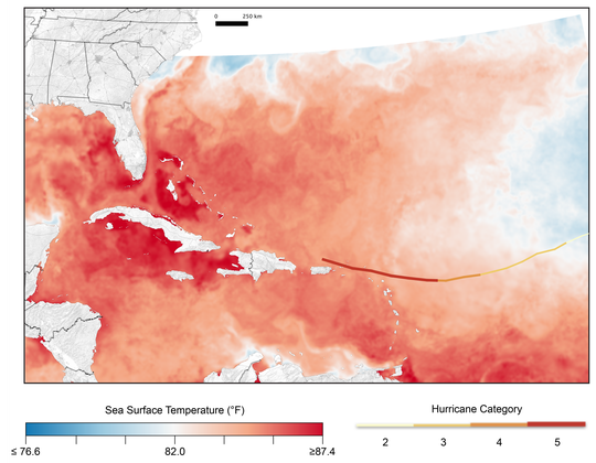 Two factors supported Hurricane Irma's strength as it reached the Southeast region: the very warm waters it passed over, depicted in this figure, and the light winds Irma encountered in the upper atmosphere. High-intensity hurricanes such as Irma are expected to become more common in the future due to climate change.