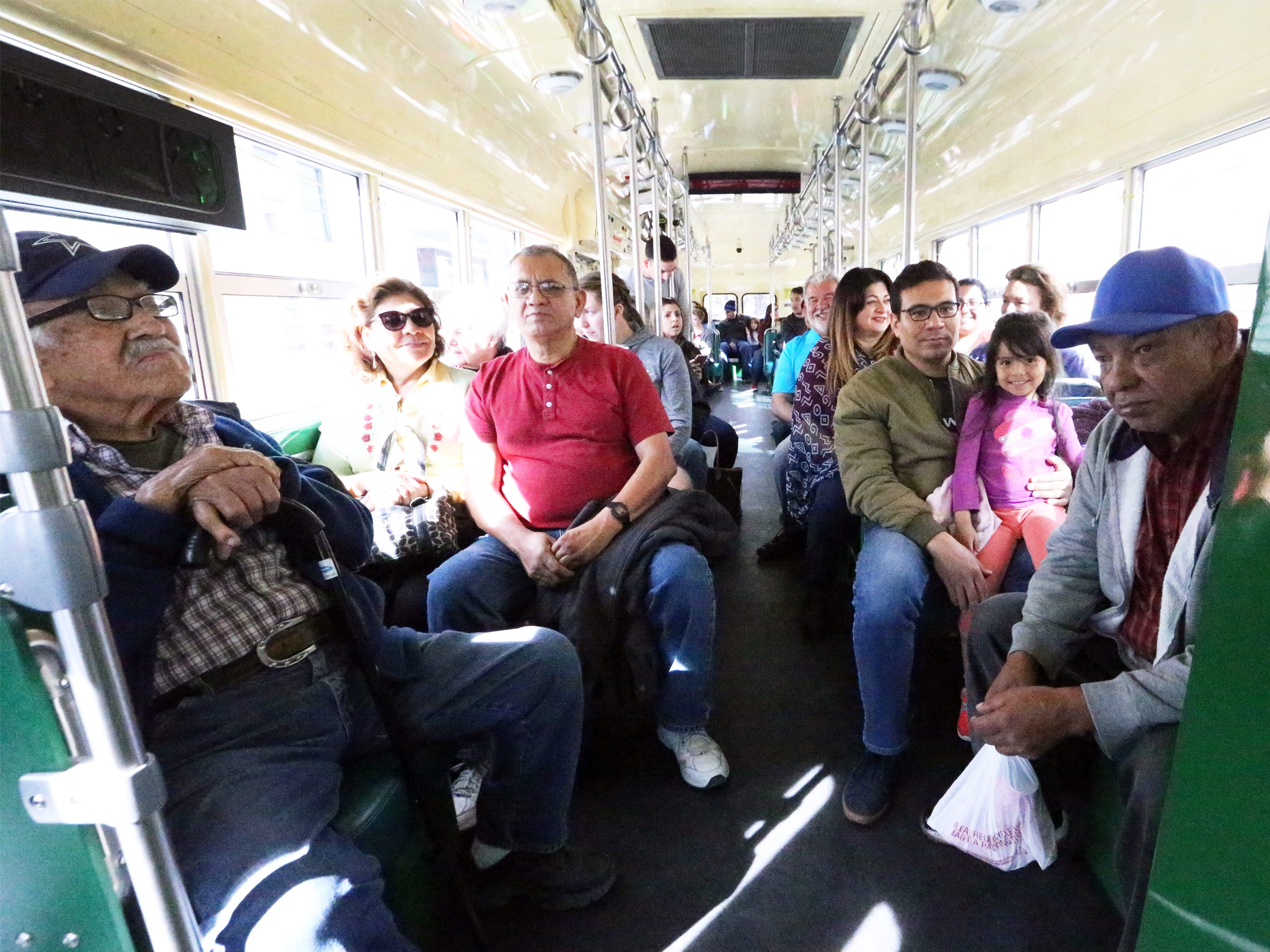 Jose Guevara, left, sits inside Streetcar 1506 Friday. Guevara recalls his days of riding streetcars over the Paso Del Norte international bridge in years past and was treated to the ride by his family for his 98th birthday.