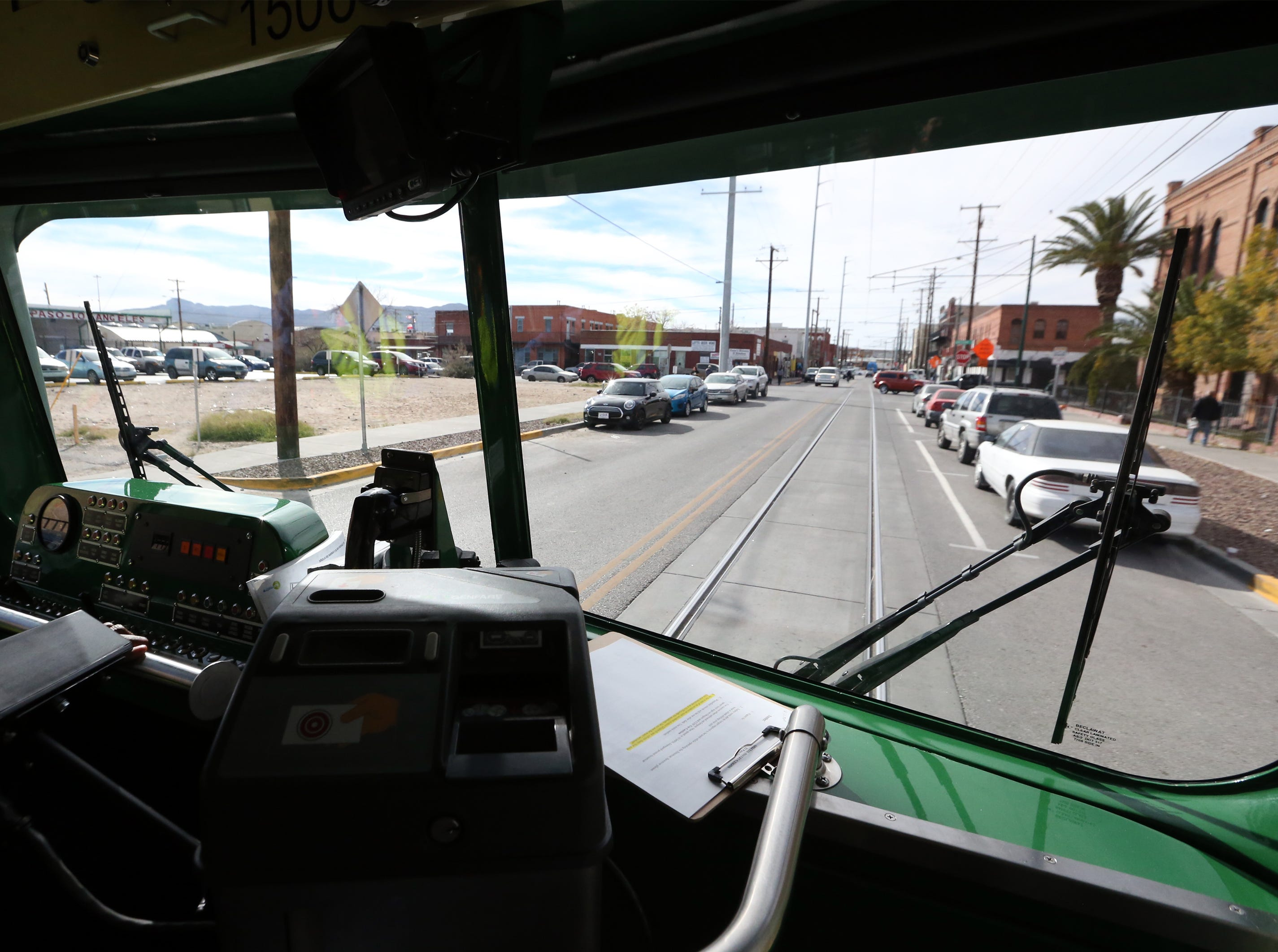 Streetcar 1506 rolls along in South El Paso Friday.