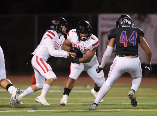 Quarterback Mikey Zele and running back Lontrelle Diggs (6) are two big reasons Grace Brethren is on the verge of winning another CIF-SS football championship.