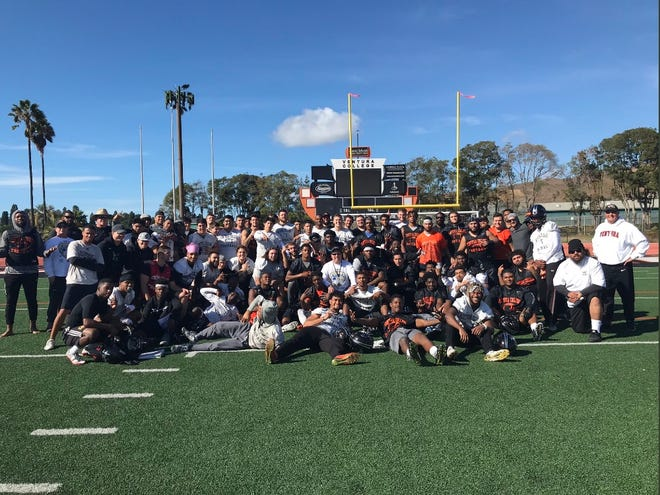 The Ventura College football team practiced on Thanksgiving in preparation for Saturday's Southern California championship game at Riverside.