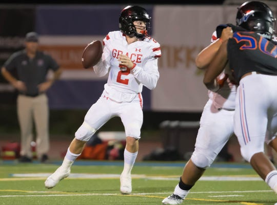 Quarterback Mikey Zele has been a big reason Grace Brethren continues to climb the CIF-Southern Section division ladder. The Lancers won the Division 8 title last season, will play in the Division 4 final on Saturday night, and may end up as a Division 3 or 2 playoff team next year.