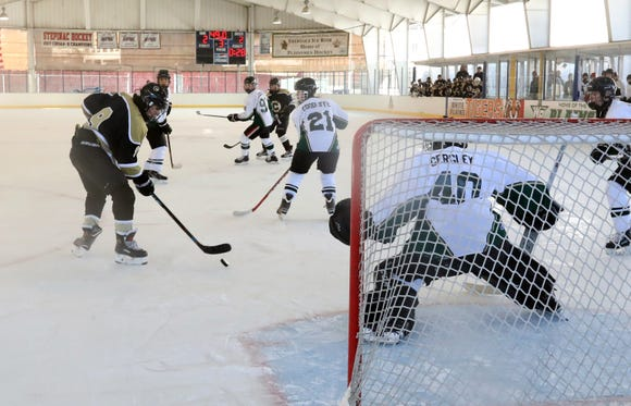 Clarkstown and Brewster/Yorktown played to a 2-2 tie in their game at the Guy Mathews Invitational Thanksgiving Tournament at Ebersole Ice Rink Nov. 23, 2018.