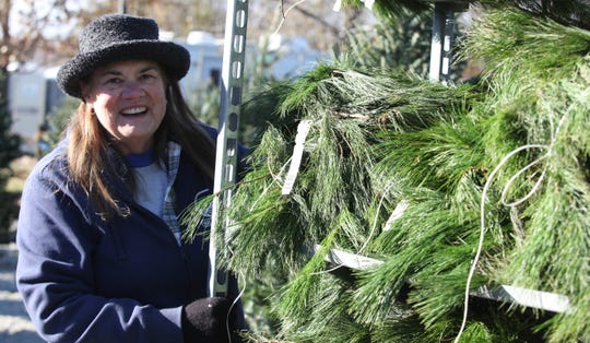 Donna Cavender pulls a large shelving unit filled with Christmas roping Friday morning at Willey Farms.