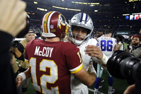 Washington Redskins quarterback Colt McCoy (12) greets Dallas Cowboys quarterback Dak Prescott (4) following an NFL football game in Arlington, Texas, Thursday, Nov. 22, 2018. The Cowboys defeated the Redskins 31-23.  McCoy was 24 of 38 for 268 yards and two touchdowns with three interceptions. Prescott was 22 of 31 for 289 yards and two TDs with no INTs.