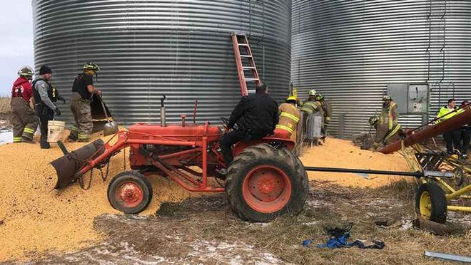 Rescue workers were called to the scene around 12:22 p.m. on Wednesday to the report of a man trapped in a corn bin located south of Turtle Lake,