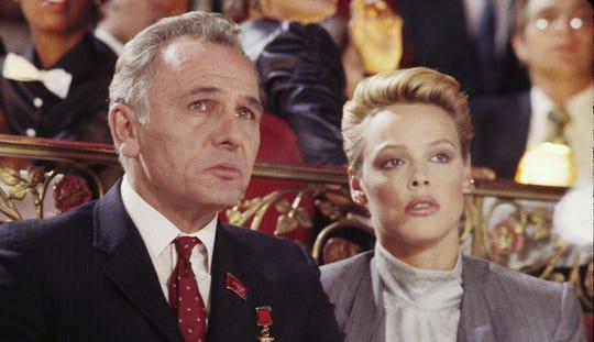 "Michael Pataki as Nicoli Koloff and Brigitte Nielsen as Ludmilla put the Russian in ""Rocky IV."""