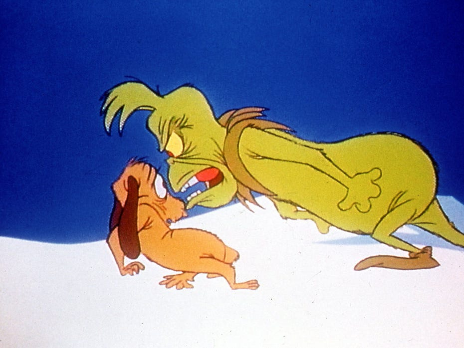 "Max and Grinch in ""How the Grinch Stole Christmas!"""