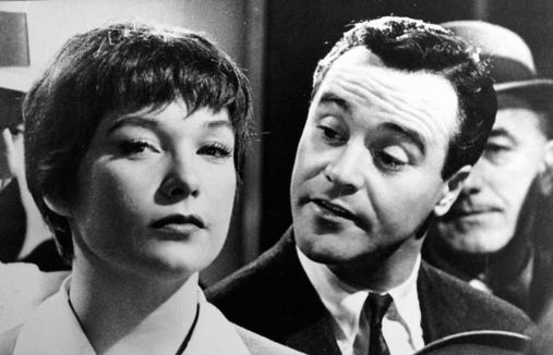 "An elevator operator (Shirley MacLaine) is the object of affection for a lonely office worker (Jack Lemmon) in Billy Wilder's 1960 film ""The Apartment."""