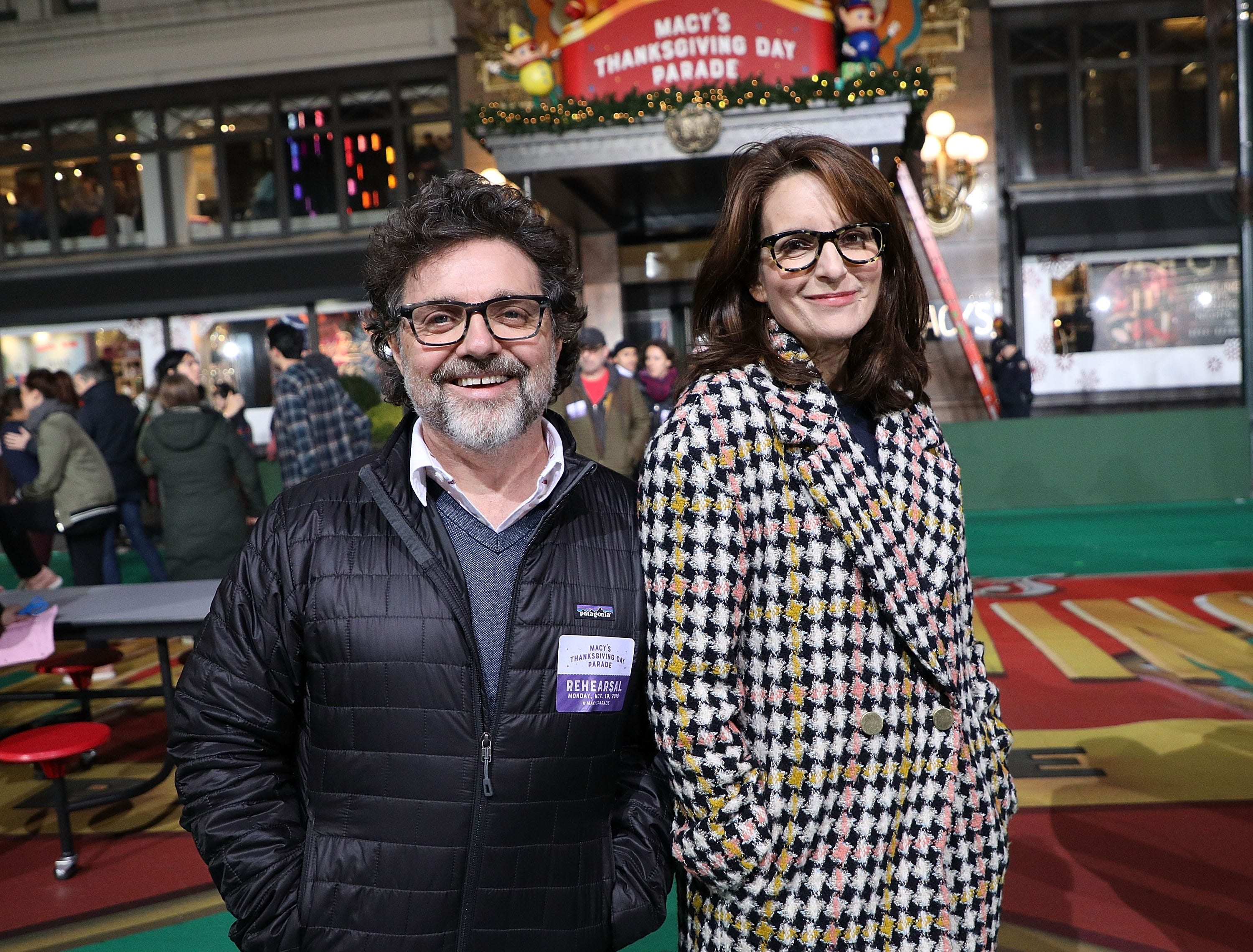 NEW YORK, NY - NOVEMBER 19: Jeff Richmond and Tina Fey attend Day 1 of 2018 Macy's Thanksgiving Day Parade Rehearsals at Macy's Herald Square on November 19, 2018 in New York City.  (Photo by Taylor Hill/WireImage) ORG XMIT: 775259763 ORIG FILE ID: 1063617692