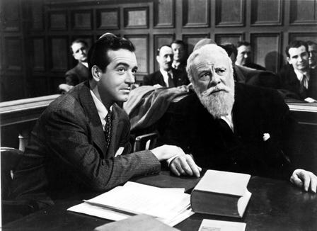 "Kris Kringle (Edmund Gwenn, left, with John Payne) is put on trial in the 1947 classic ""Miracle on 34th Street."""