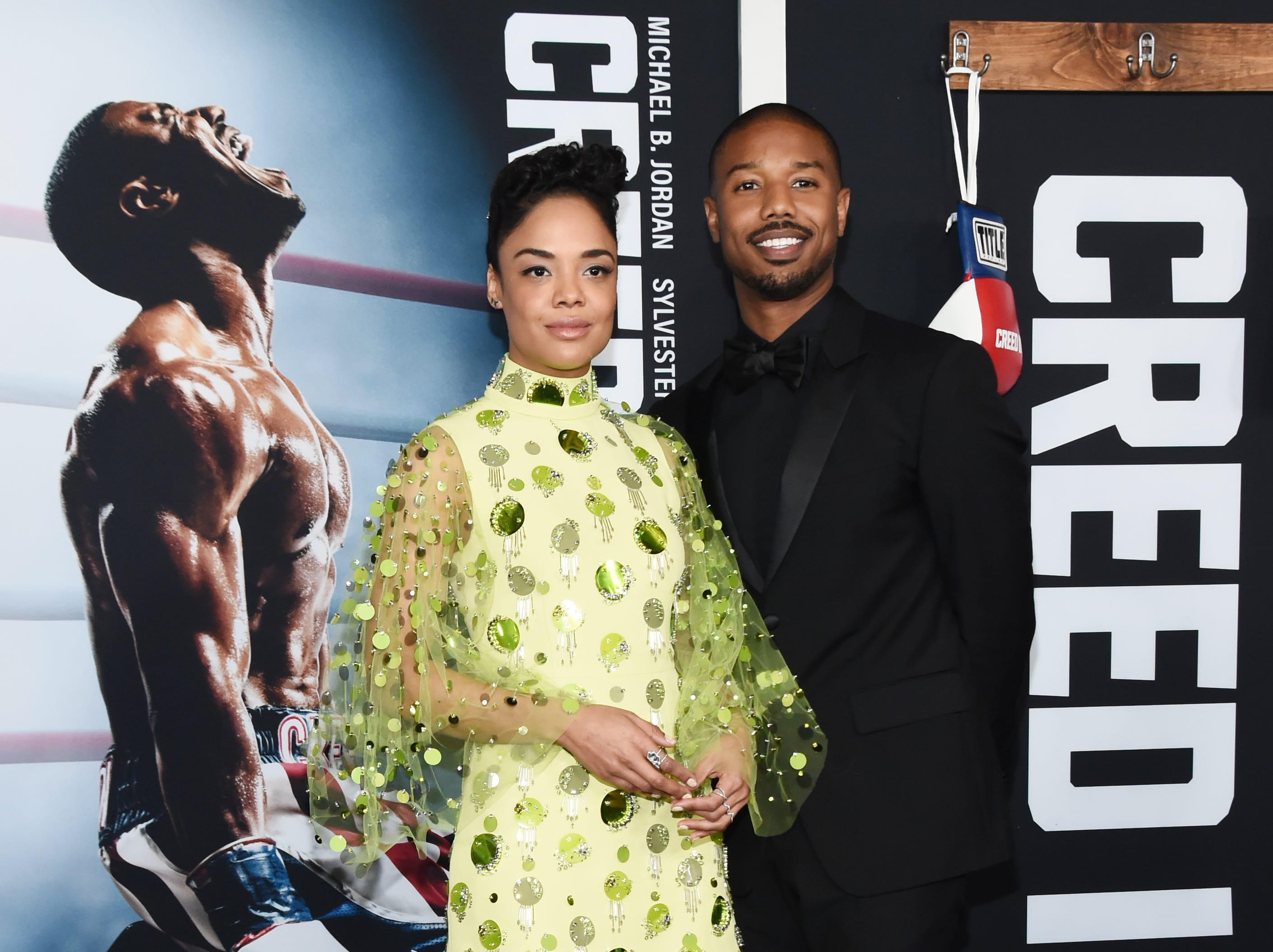 NEW YORK, NEW YORK - NOVEMBER 14: Tessa Thompson and Michael B. Jordan attend the 'Creed II' New York Premiere at AMC Loews Lincoln Square on November 14, 2018 in New York City. (Photo by Daniel Zuchnik/WireImage) ORG XMIT: 775258752 ORIG FILE ID: 1067714112