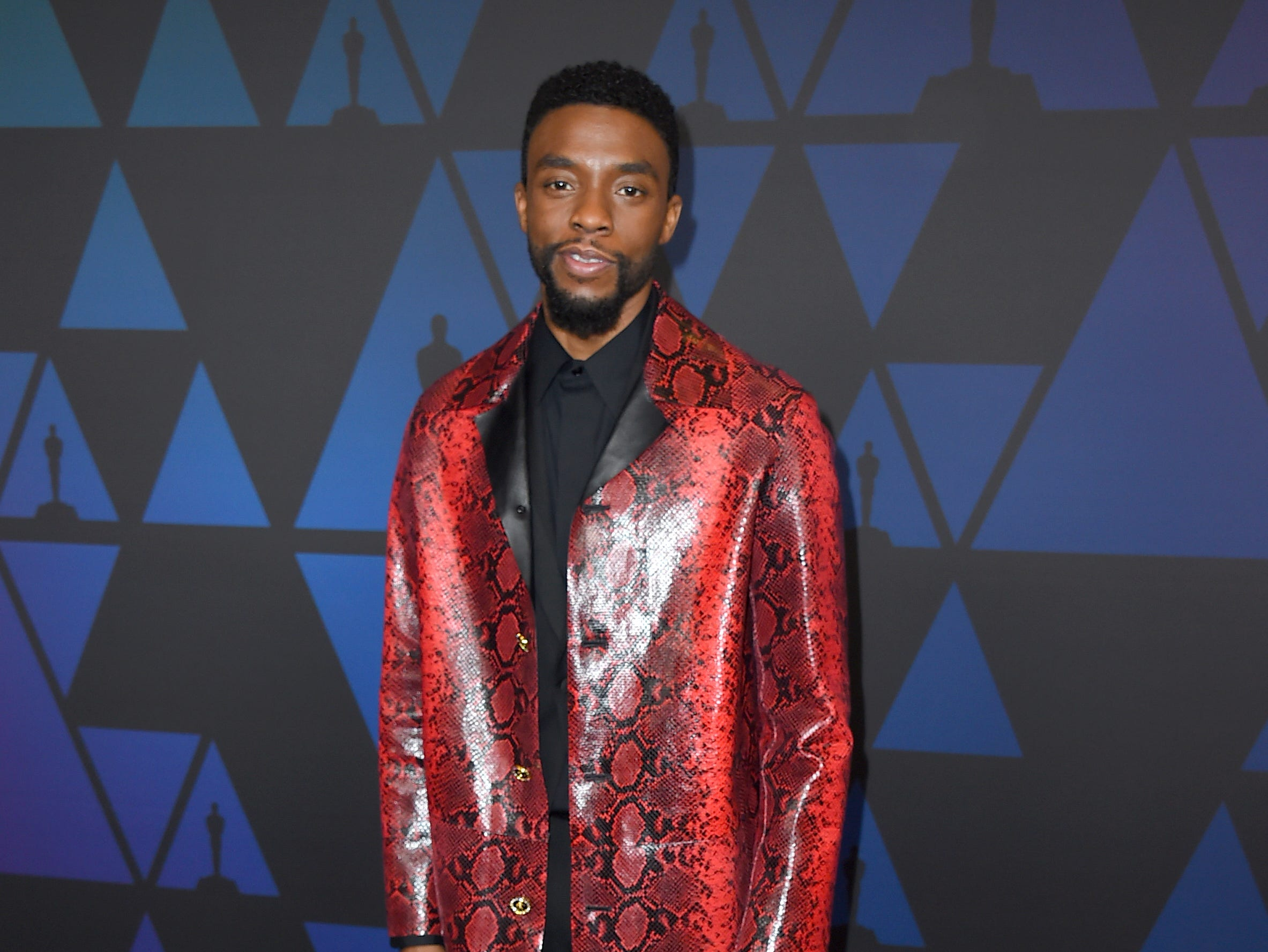 Chadwick Boseman arrives at the Governors Awards on Sunday, Nov. 18, 2018, at the Dolby Theatre in Los Angeles. (Photo by Jordan Strauss/Invision/AP) ORG XMIT: CAPM173