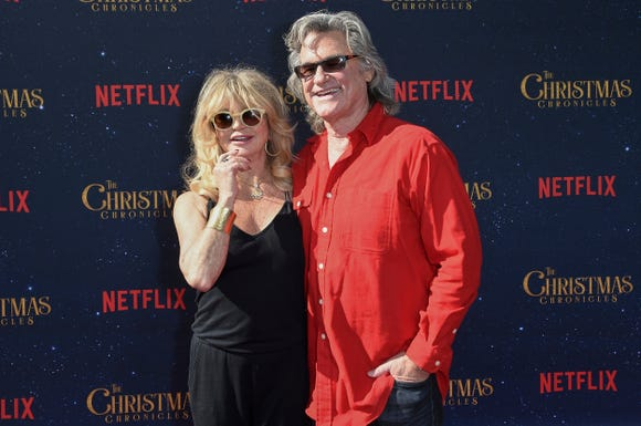 "Goldie Hawn and Kurt Russell attend the world premiere of ""The Christmas Chronicles,"" the first film since 1987's ""Overboard"" where they shared screen time as love interests."