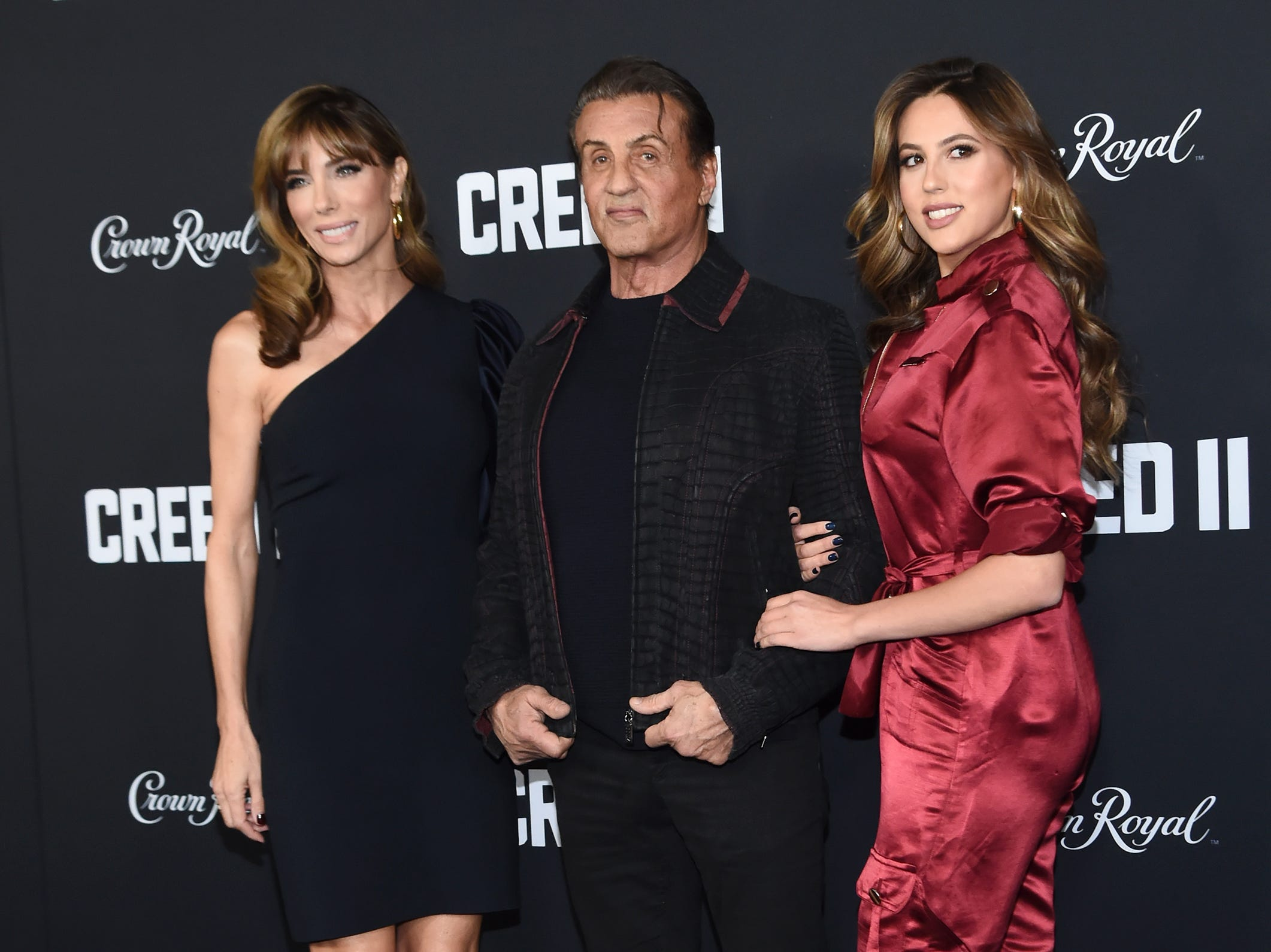 NEW YORK, NEW YORK - NOVEMBER 14: Jennifer Flavin, Sylvester Stallone and daughter Sophia Stallone attend the 'Creed II' New York Premiere at AMC Loews Lincoln Square on November 14, 2018 in New York City. (Photo by Daniel Zuchnik/WireImage) ORG XMIT: 775258752 ORIG FILE ID: 1067713010
