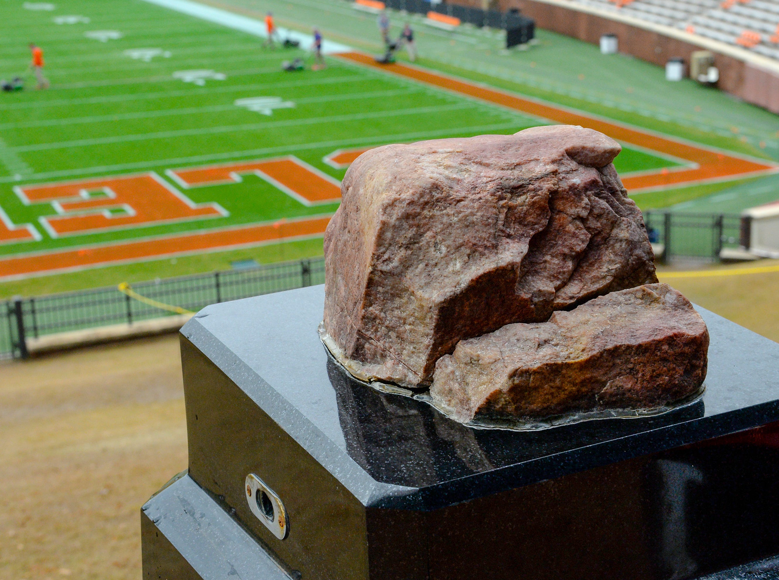 Howard's Rock hours before kickoff in Memorial Stadium, before the South Carolina at Clemson football game is played in Clemson on Saturday, November 24, 2018.