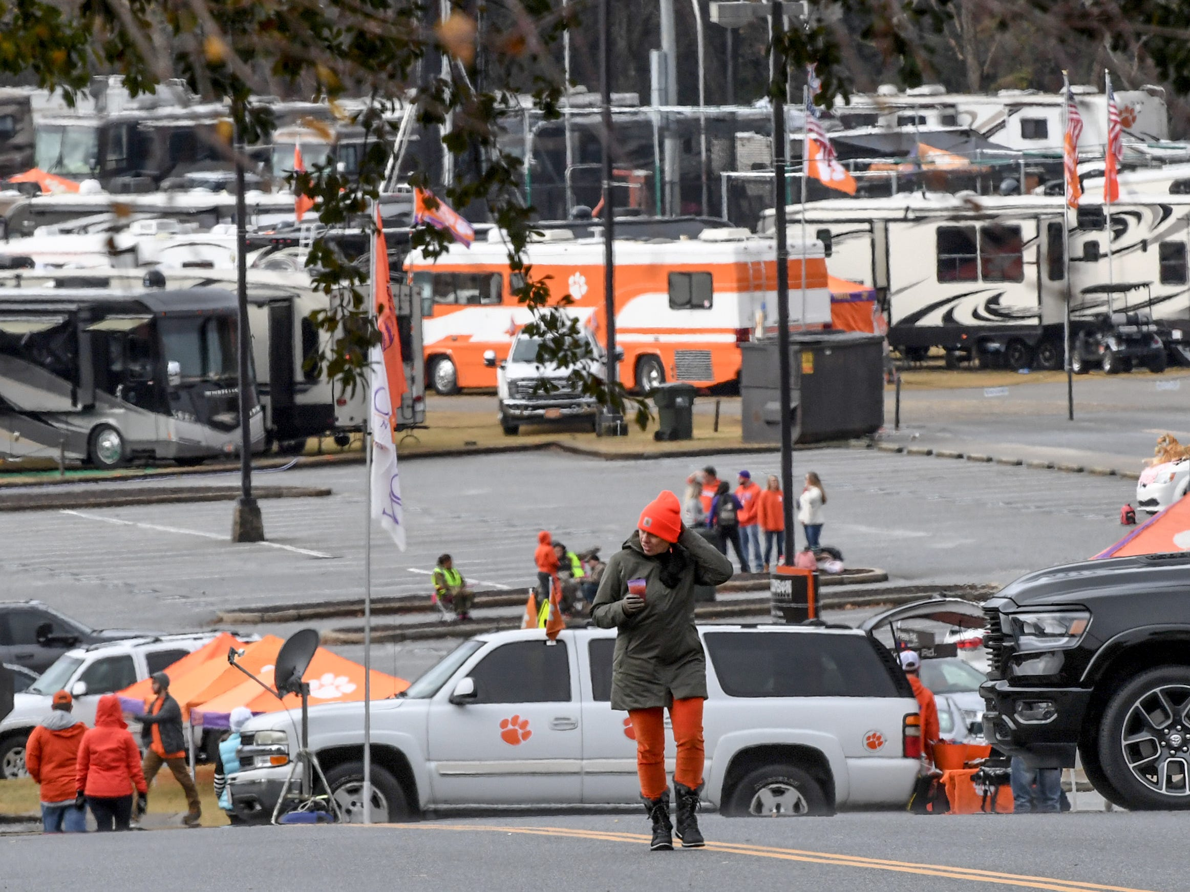 Fans tailgate from their cars and recreational vehicles hours before kickoff outside Memorial Stadium, before the South Carolina at Clemson football game in Clemson on Saturday, November 24, 2018.