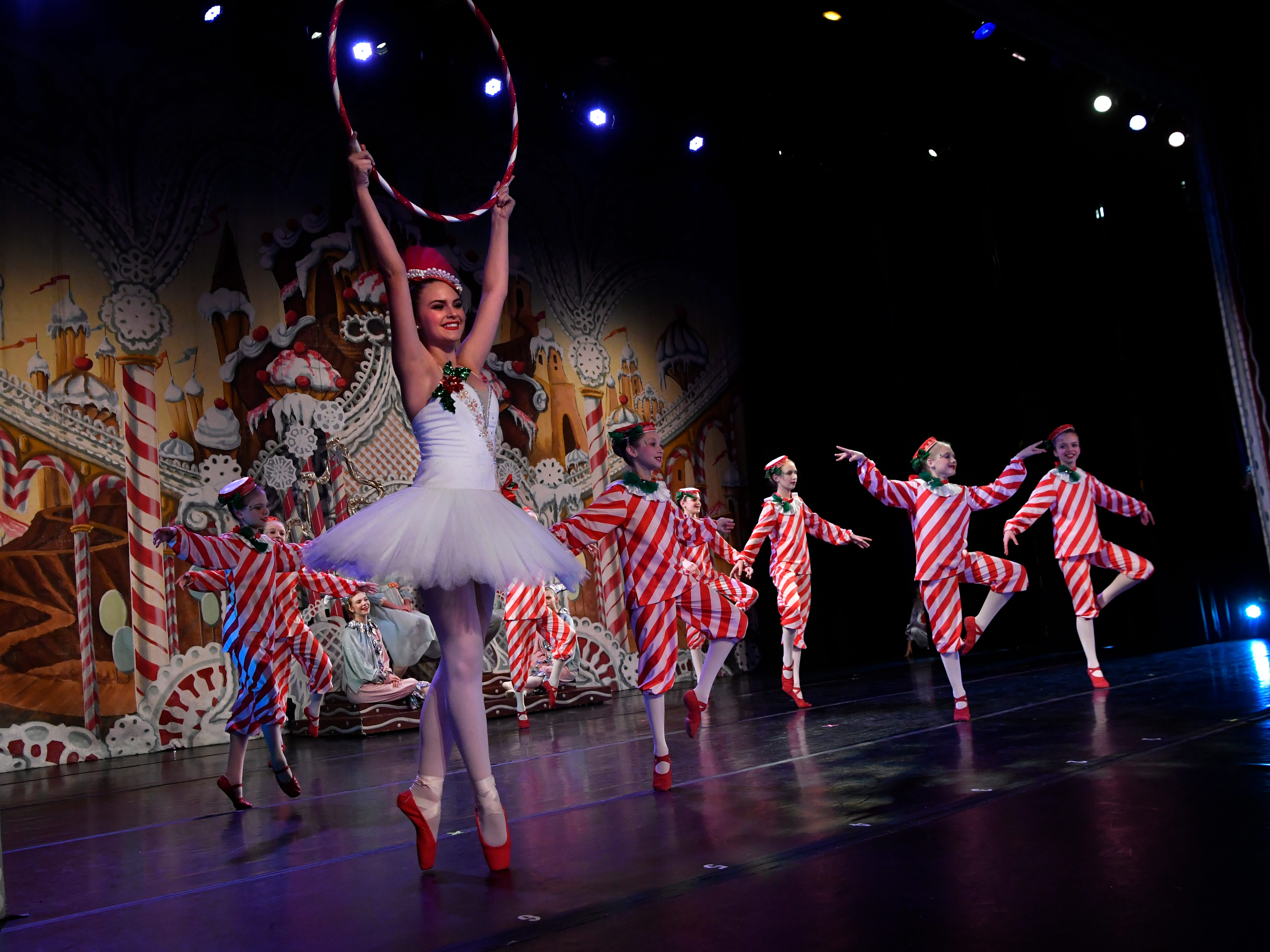 Katelyn Beard dances as the Peppermint Twist during the Land of the Sweets scene at a performance for schoolchildren of The Nutcracker Friday Nov. 14, 2018. This was the 31st year for the Abilene Ballet Theatre production, held at the Paramount Theatre.