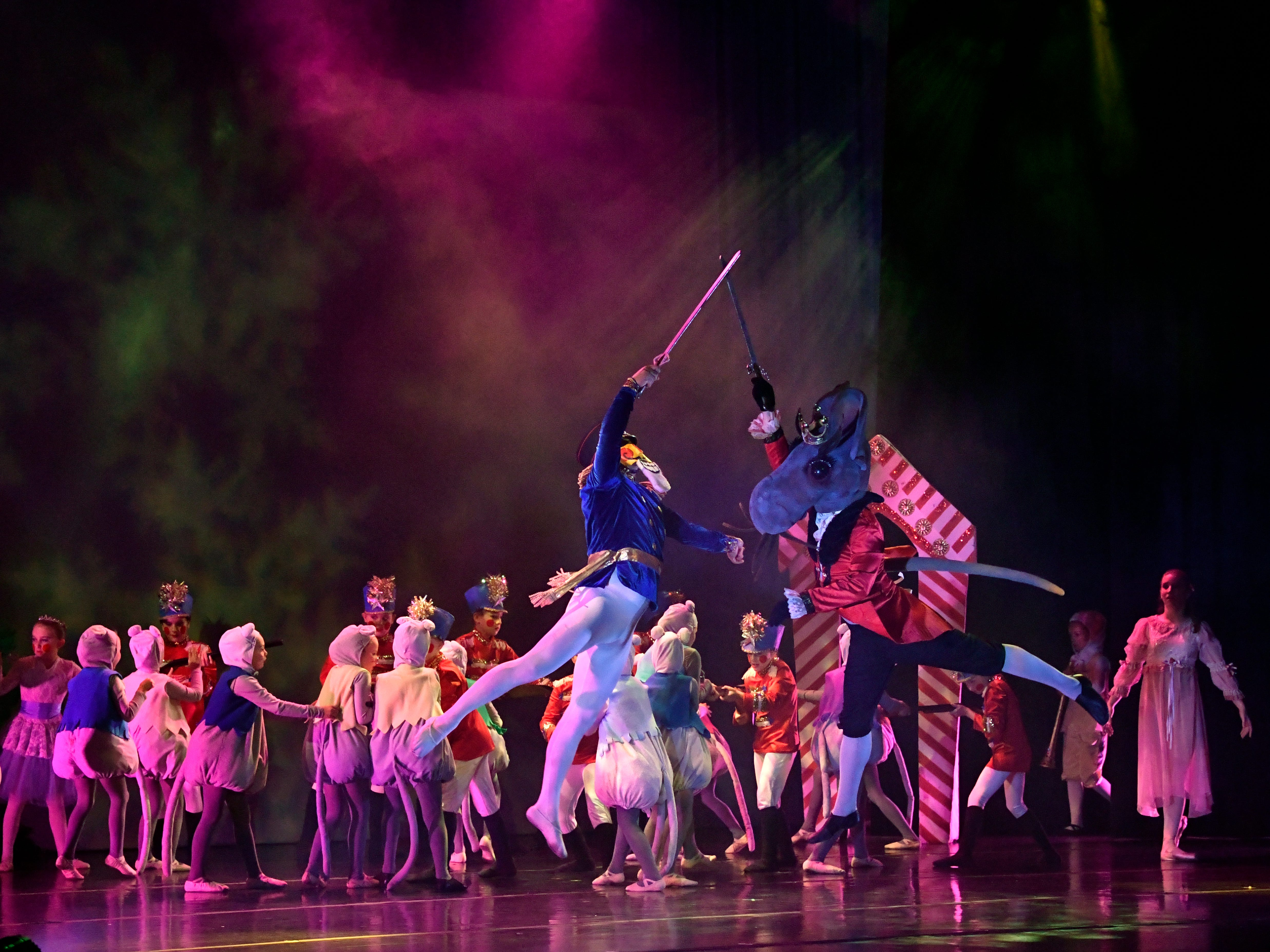 David Barocio as the Nutcracker Prince and Seth Willis portraying the Mouse King duel during the Battle Scene in Friday's performance of The Nutcracker for schoolchildren Nov. 16, 2018. This was the 31st year for the Abilene Ballet Theatre production, held at the Paramount Theatre.