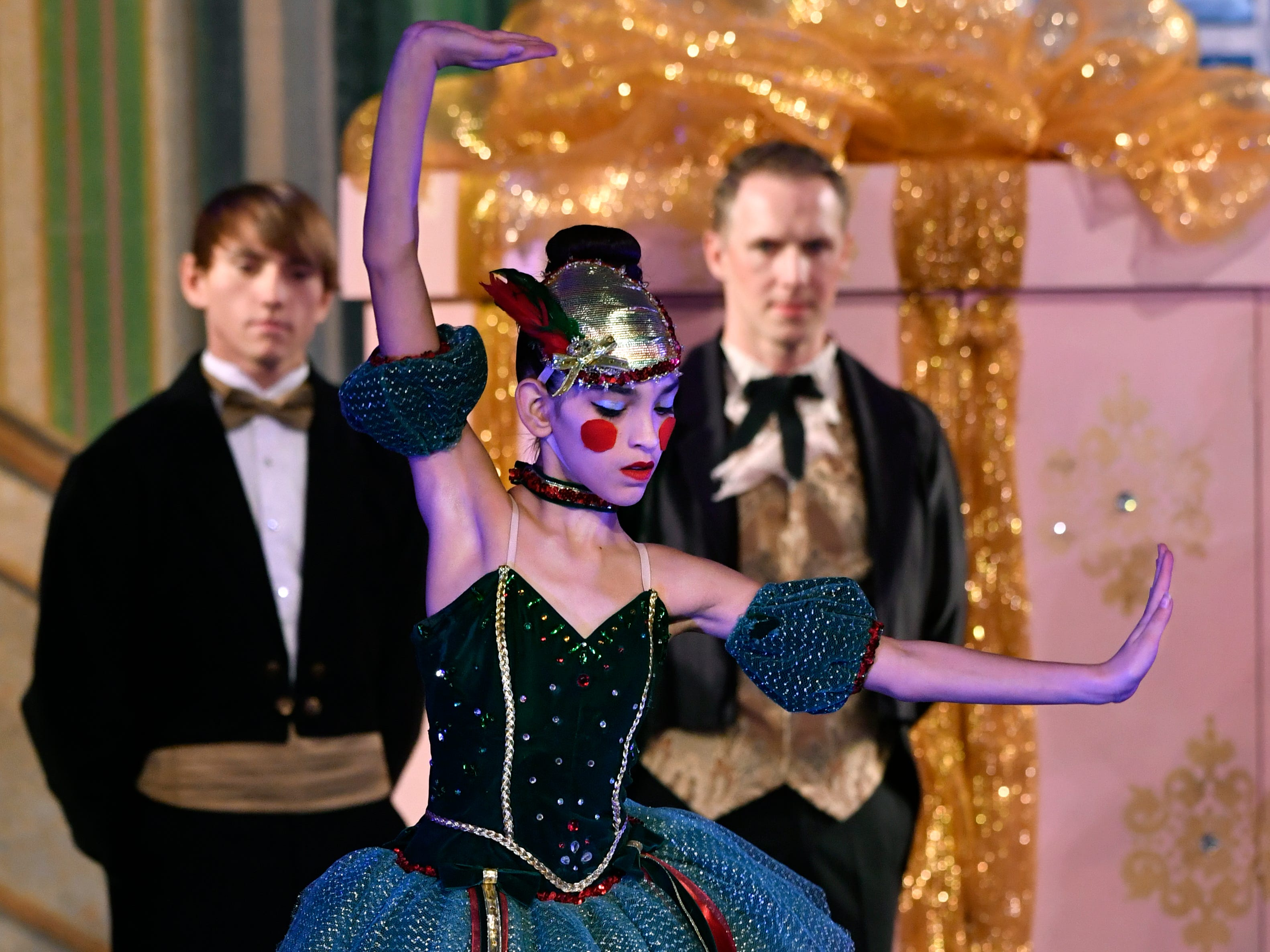 Kaleigh Gann portrays a dancing mechanical doll during the Party Scene in Friday's performance of The Nutcracker for schoolchildren Nov. 15, 2018. This was the 31st year for the Abilene Ballet Theatre production, held at the Paramount Theatre.