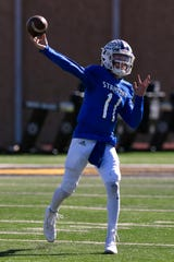 Stamford quarterback Peyton Bevel set single-game state records with 789 yards and 12 touchdowns passing in a 90-62 win against De Leon in 2018. Bevel now attends West Texas A&M University.