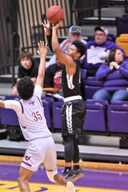 Hardin-Simmons guard Kadon Lewis (11) takes a 3-point shot earlier this season. Lewis helped the Cowboys build a first-half lead in Saturday's win against Belhaven. HSU travels to Ozarks and UT Tyler this week.