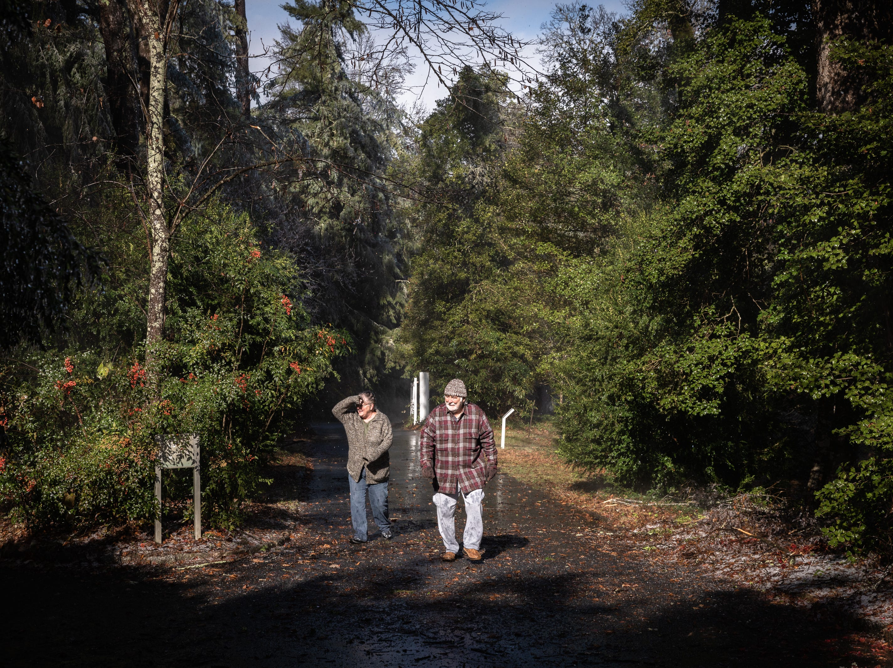 Laura Roscoe and Woody Roscoe, of Hendersonville, walk up the driveway to the Carl Sandburg home in Flat Rock where the park celebrated its 50th anniversary Nov. 24, 2018, with their Christmas at Connemara event featuring live music, storytellers and tours of the home.