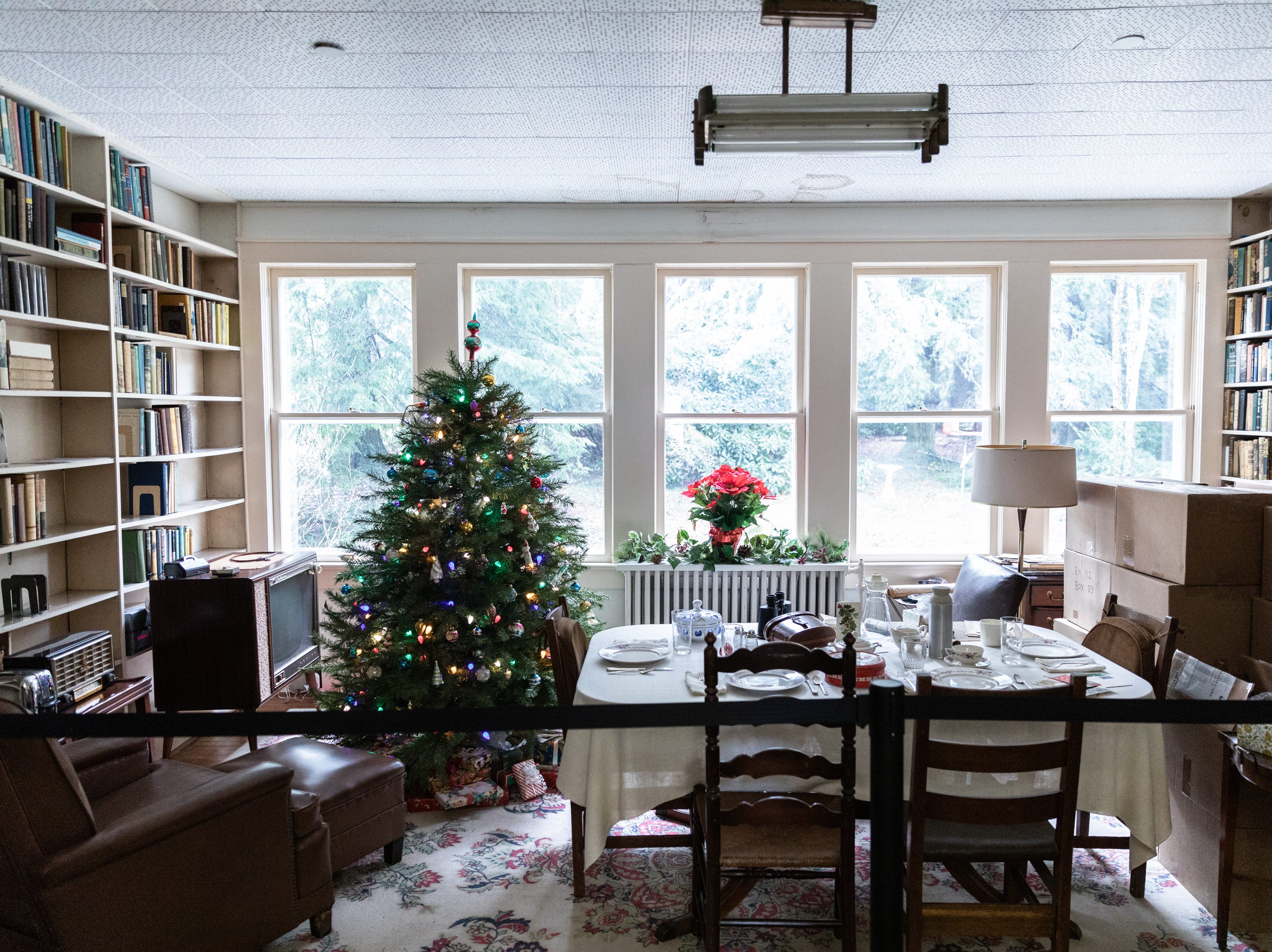 The dining room at the Carl Sandburg home, decorated for Christmas while the park celebrated its 50th anniversary Nov. 24, 2018, with their Christmas at Connemara event featuring live music, storytellers and tours of the home.