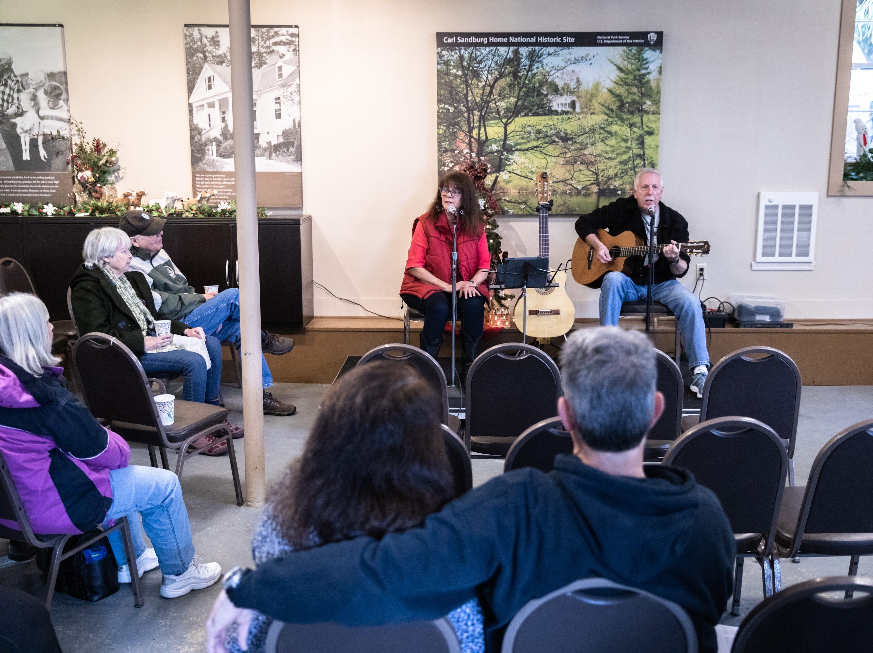Jean Satz and her husband Alan Satz, who go by the name Geriatric Jukebox, perform songs at the Carl Sandburg home in Flat Rock where the park celebrated its 50th anniversary Nov. 24, 2018, with their Christmas at Connemara event featuring live music, storytellers and tours of the home.